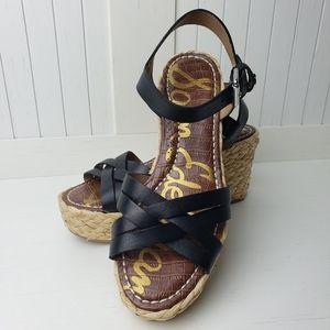 NEW Sam Edelman Wedge Sandals in Black